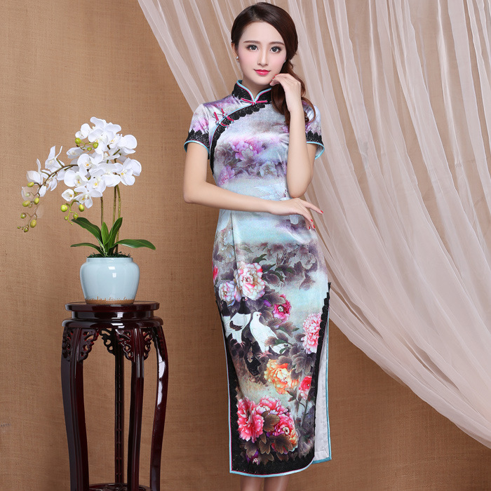Wonderful Floral Garden Print Velvet Qipao Cheongsam Dress