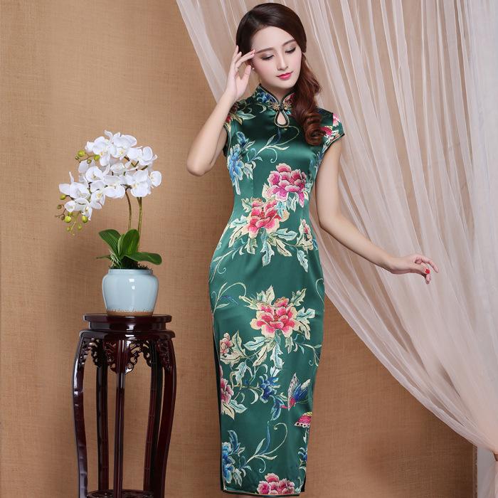 Spectacular Peony Flowers Mid-calf Qipao Cheongsam Dress - Green