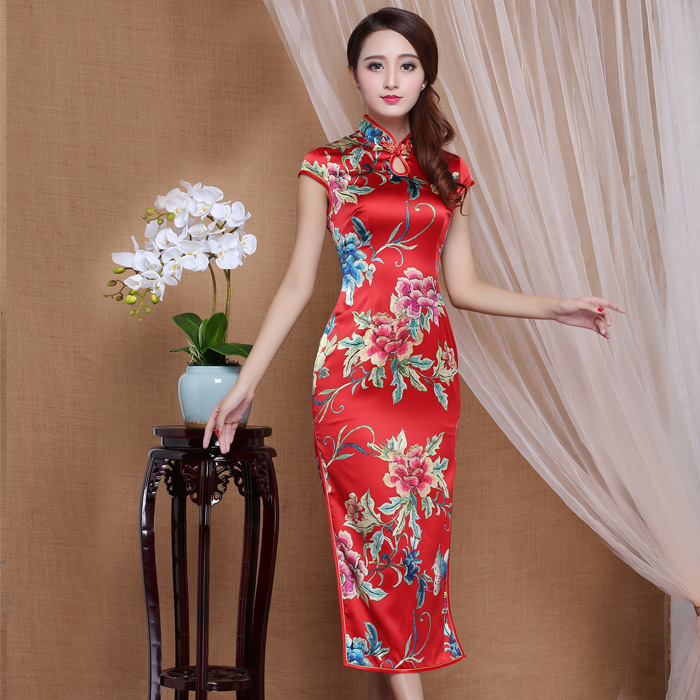 Spectacular Peony Flowers Mid-calf Qipao Cheongsam Dress - Red