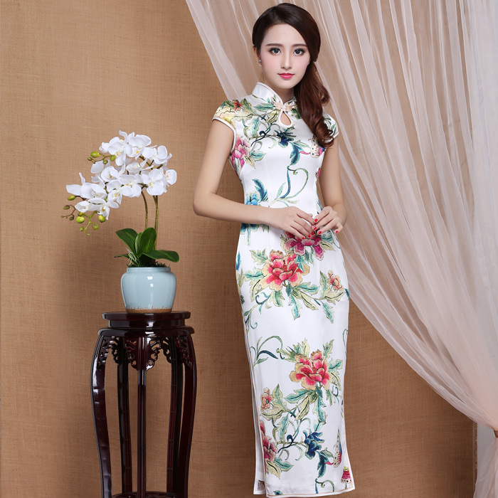 Spectacular Peony Flowers Mid-calf Qipao Cheongsam Dress - White