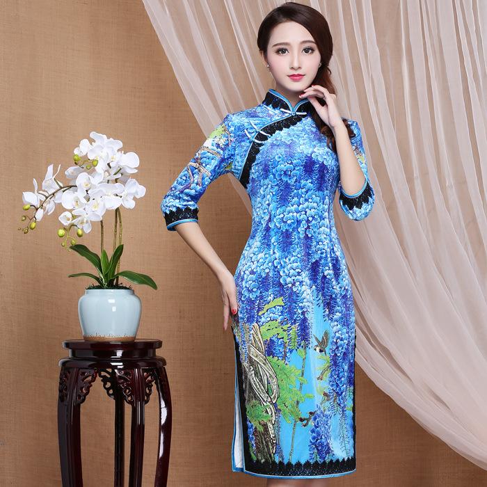 Impressive Garden Print Velvet Cheongsam Qipao Dress - Blue