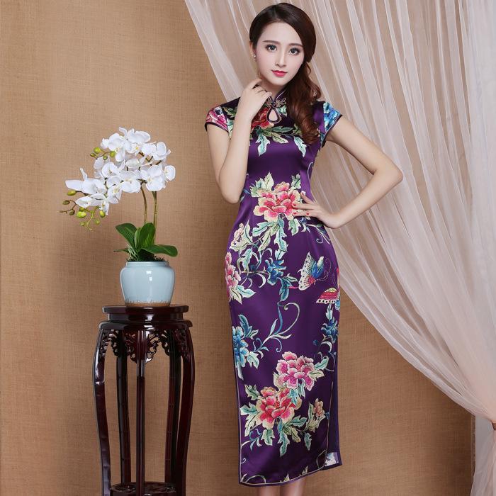 Spectacular Peony Flowers Mid-calf Qipao Cheongsam Dress - Purple