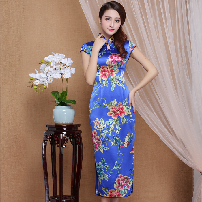 Spectacular Peony Flowers Mid-calf Qipao Cheongsam Dress - Blue