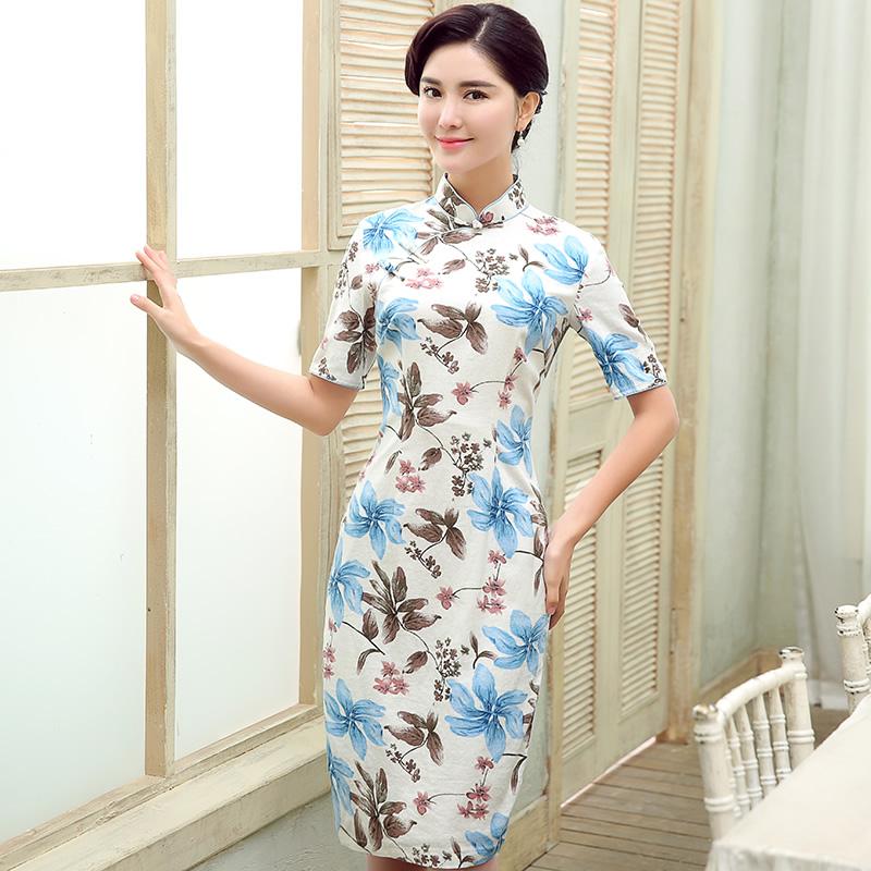 Attractive Floral Print Linen Qipao Cheongsam Dress