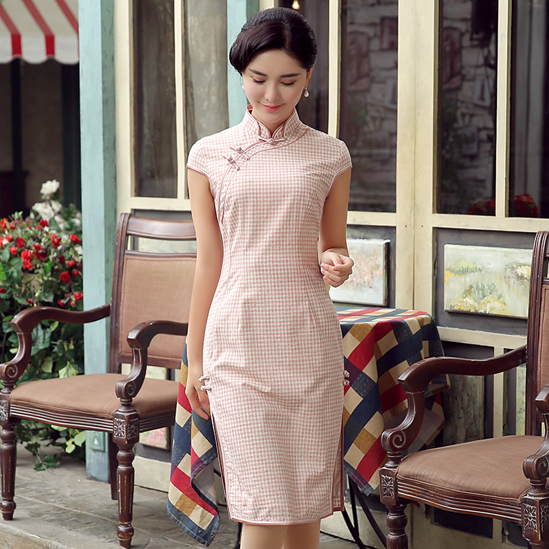 Delightful Small Plaids Qipao Cheongsam Dress - Pink