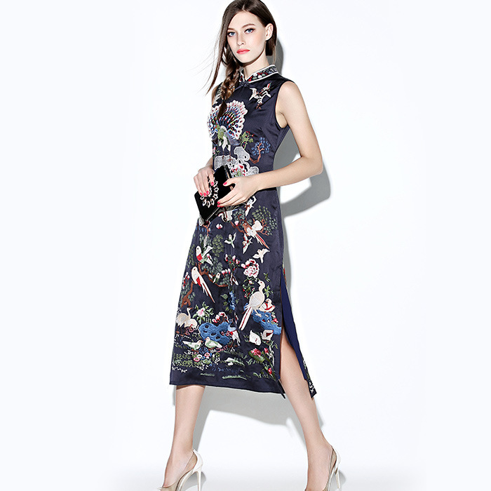 Incredible Embroidery Mid-calf Cheongsam Qipao Dress - Navy