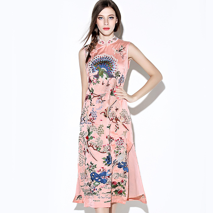 Incredible Embroidery Mid-calf Cheongsam Qipao Dress - Pink
