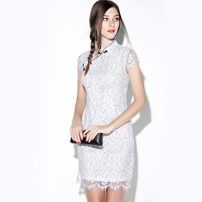 Enchanting Modern Lace Short Qipao Cheongsam Dress