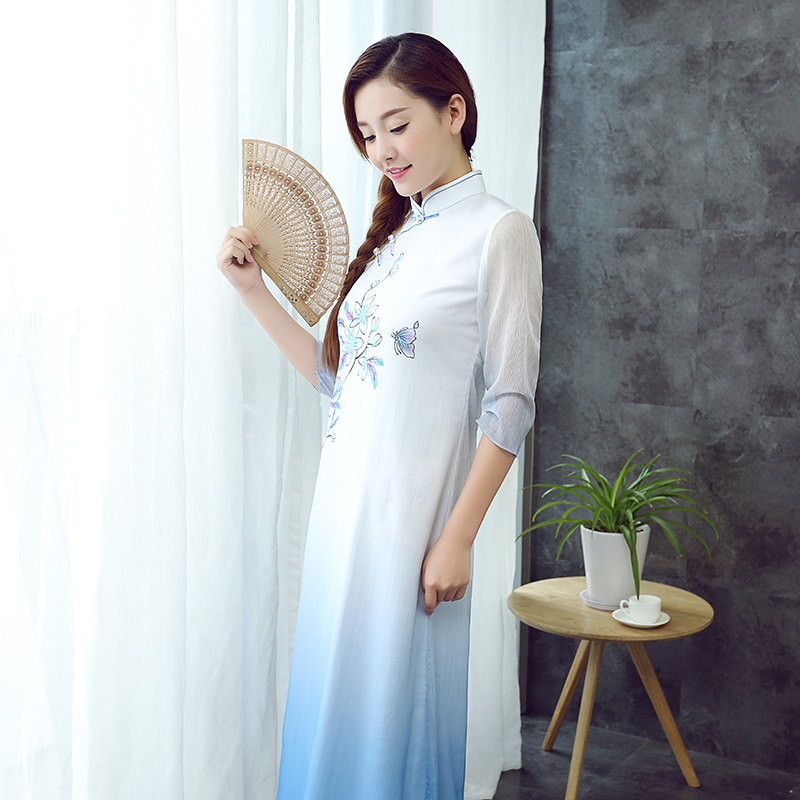 Pretty Flowers Paint Mid-calf Qipao Cheongsam Dress