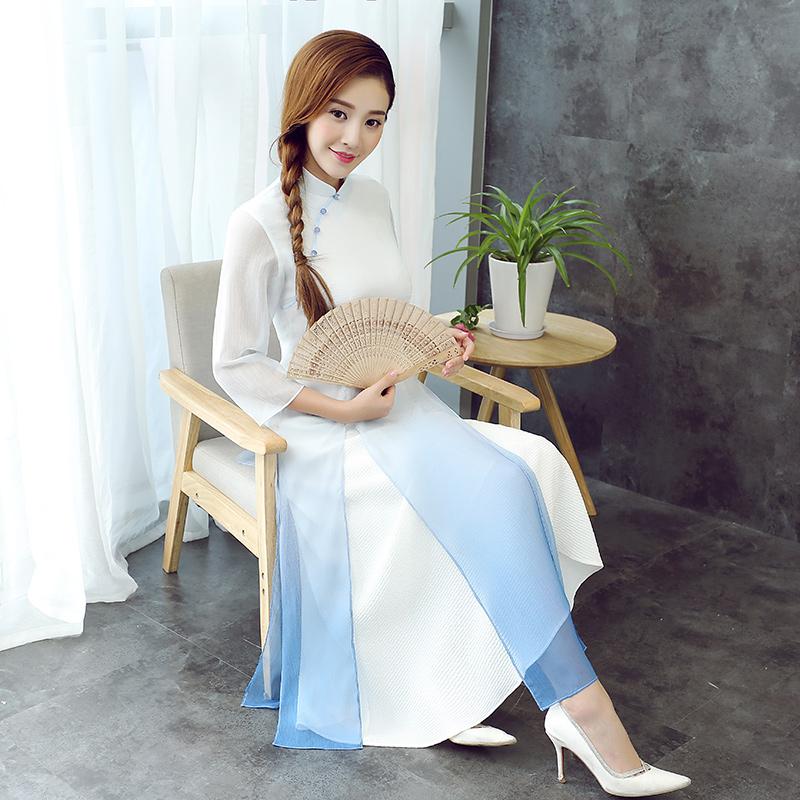 Charming Gradient Color Qipao Cheongsam Dress - White