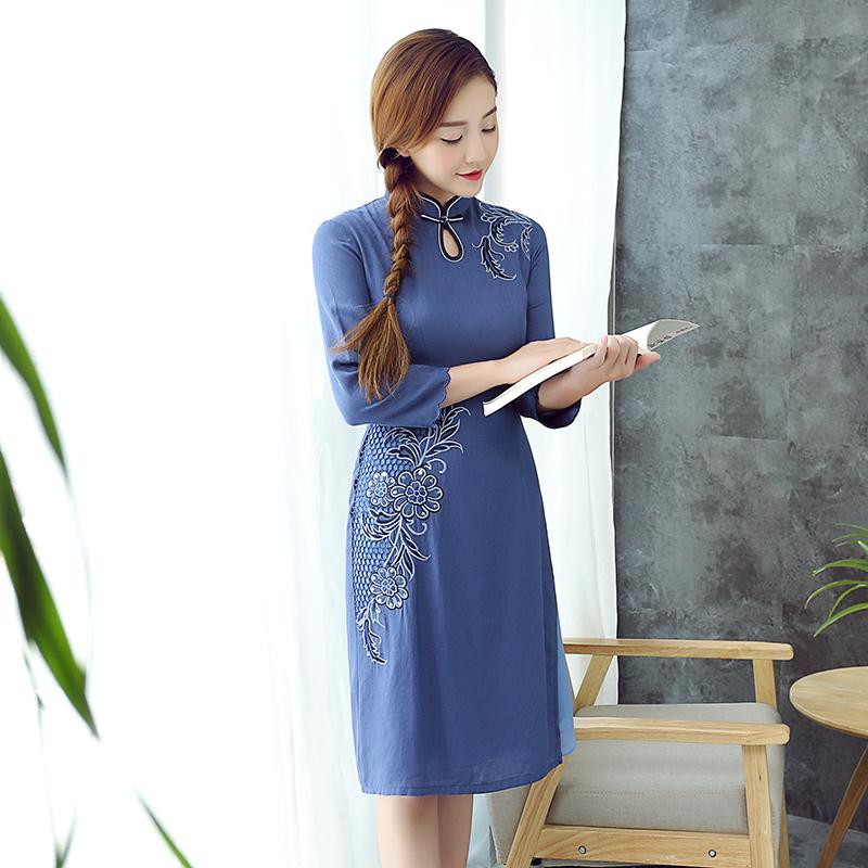 Loving Flowers Embroidery Modern Cheongsam Qipao Dress