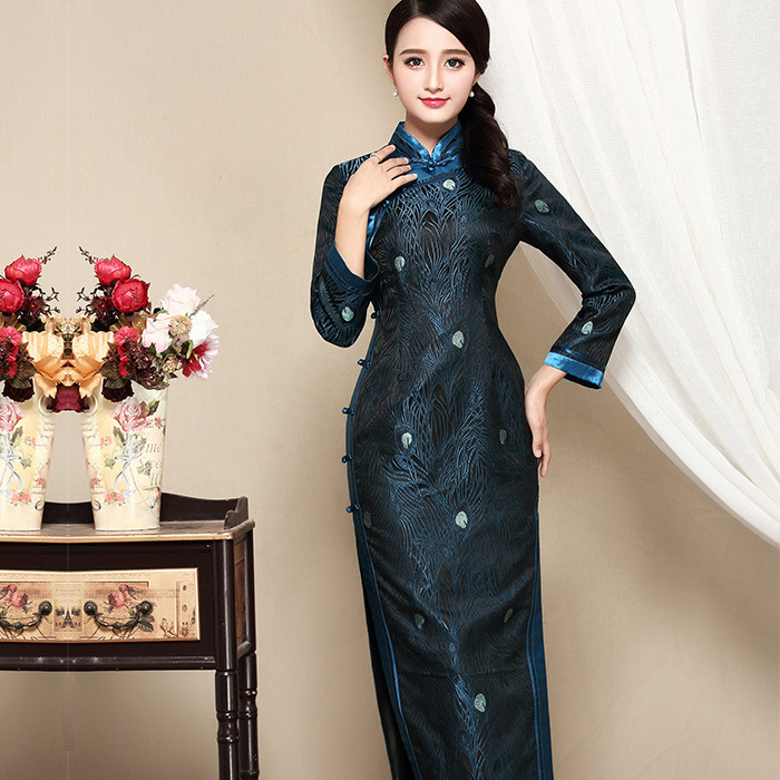 Charming Peacock Feathers Brocade Qipao Cheongsam Dress
