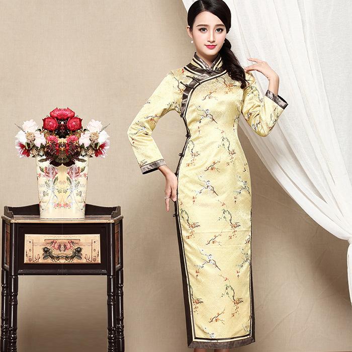 Adorable Blossoms Brocade Mid-calf Qipao Cheongsam Dress