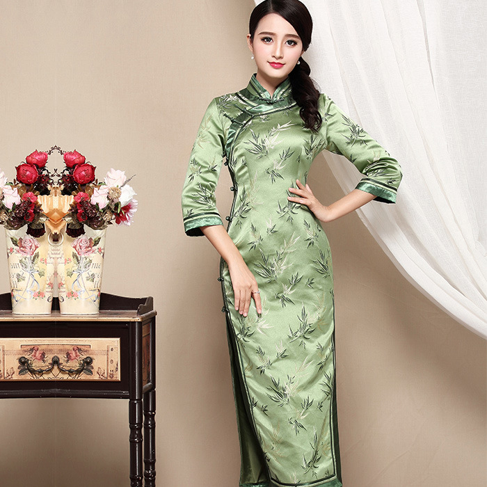 Fabulous Green Brocade Mid-calf Cheongsam Qipao Dress
