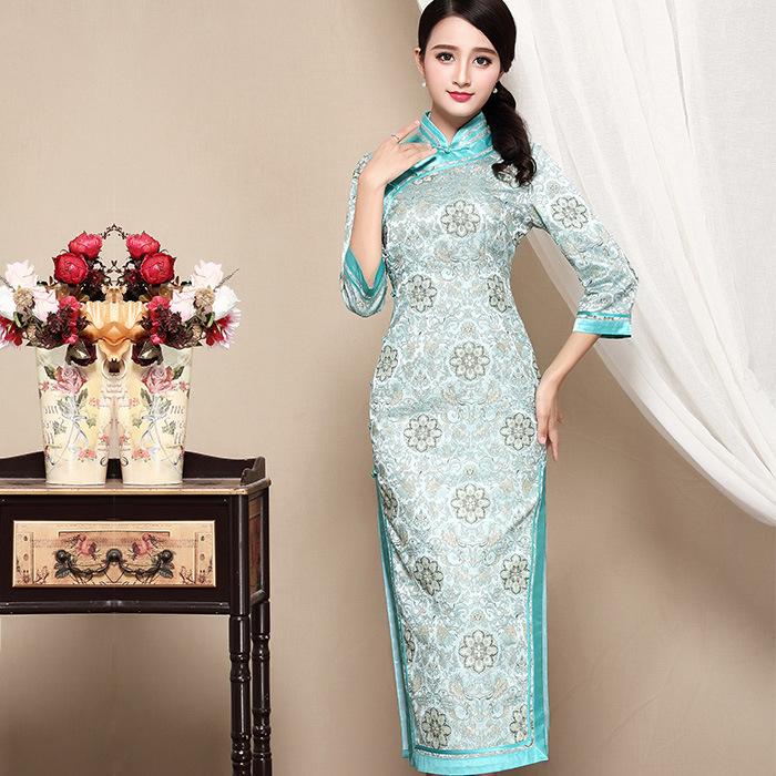 Pretty Brocade Frog Button Cheongsam Qipao Dress