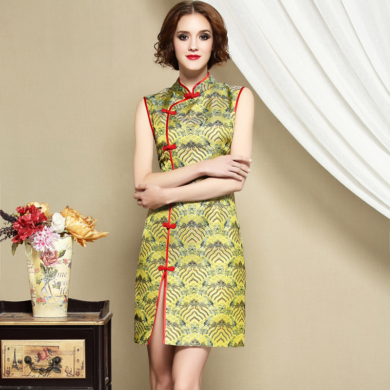 Charming Brocade Sleeveless Cheongsam Qipao Dress