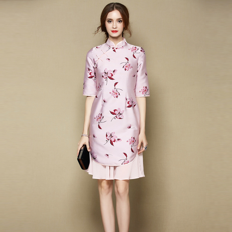 Attractive Two Layers Qipao Cheongsam Skirt Dress - Pink
