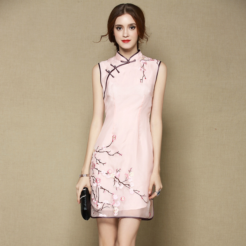 Sweet Sleeveless Silk Cheongsam Qipao Dress - Pink
