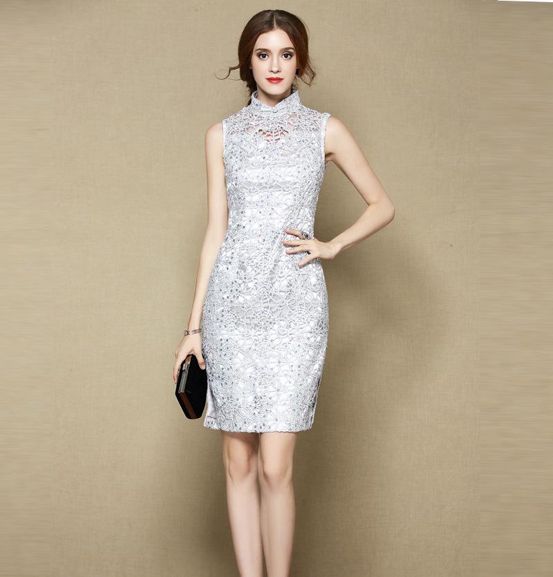 Modern Lace Sleeveless Short Cheongsam Qipao Dress