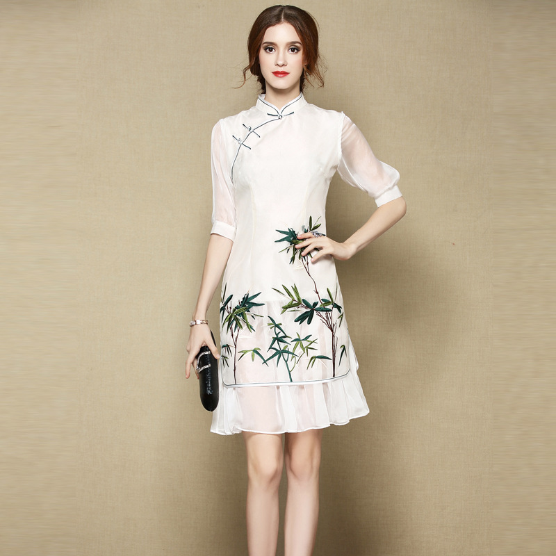 Pretty Bamboo Embroidery Silk Cheongsam Qipao Skirt Dress