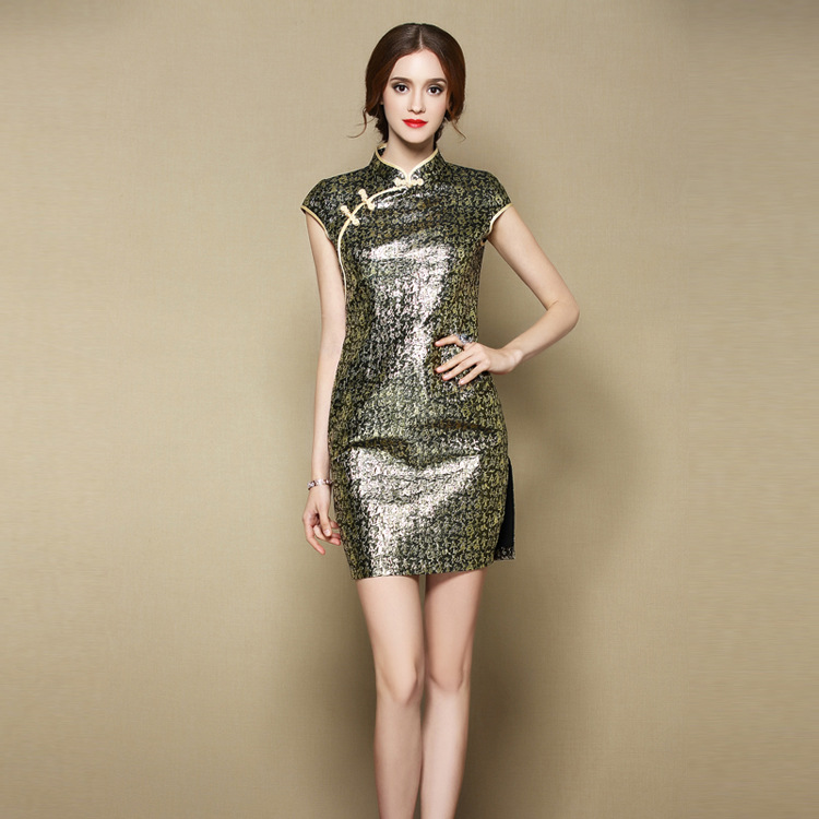 Sexy Modern Brocade Short Cheongsam Qipao Dress