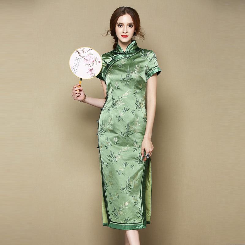 Impressive Bamboos Brocade Cheongsam Qipao Dress
