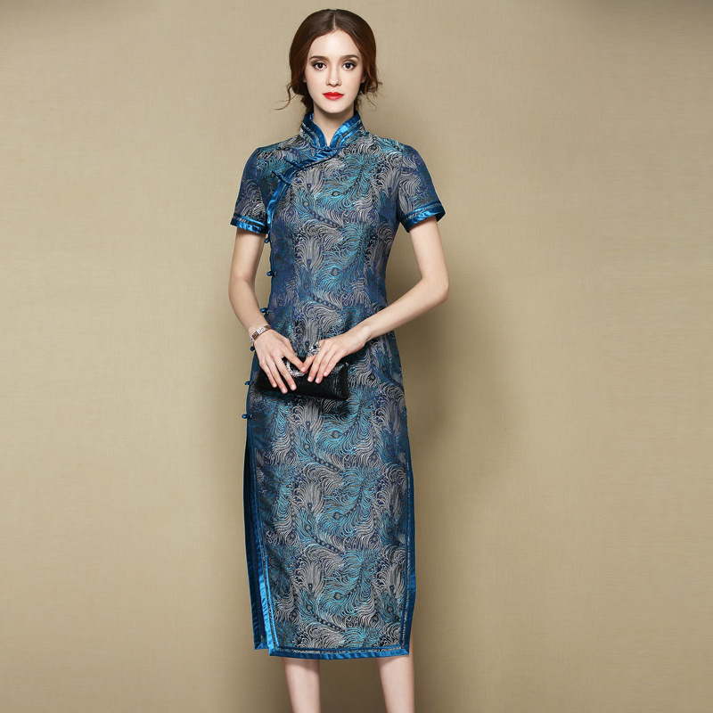 Exquisite Feathers Brocade Mid-calf Qipao Cheongsam Dress