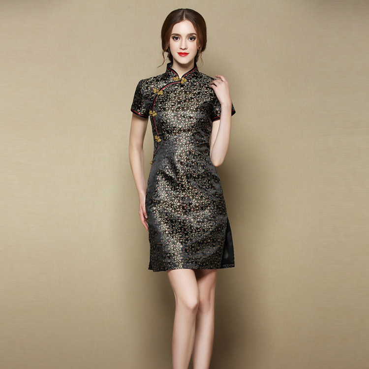 Cute Flowers Brocade Short Cheongsam Qipao Dress - Black