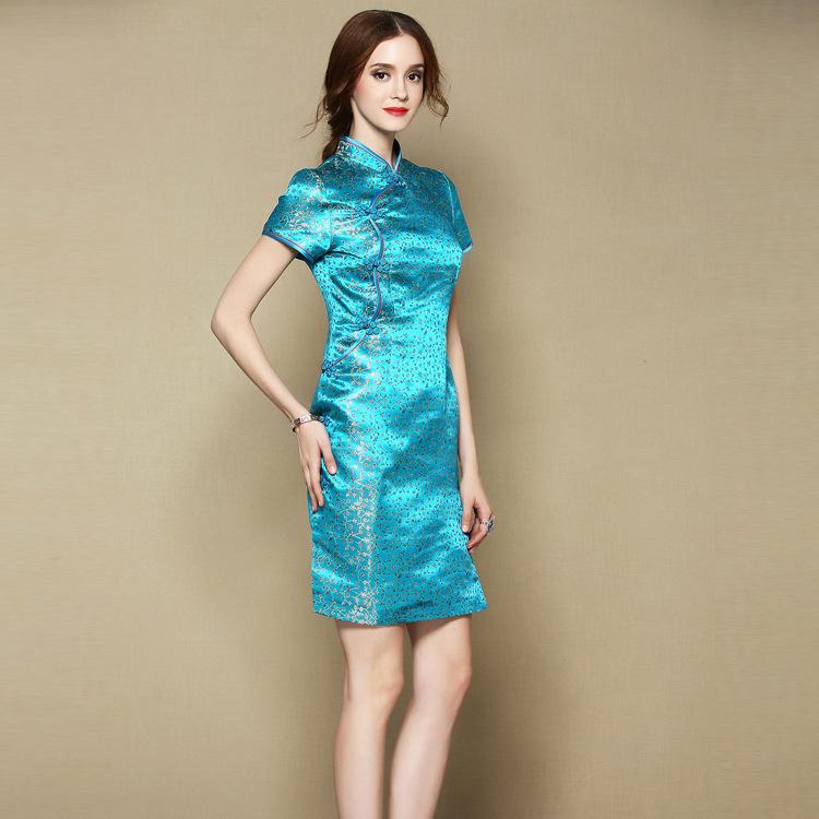 Cute Flowers Brocade Short Cheongsam Qipao Dress - Blue
