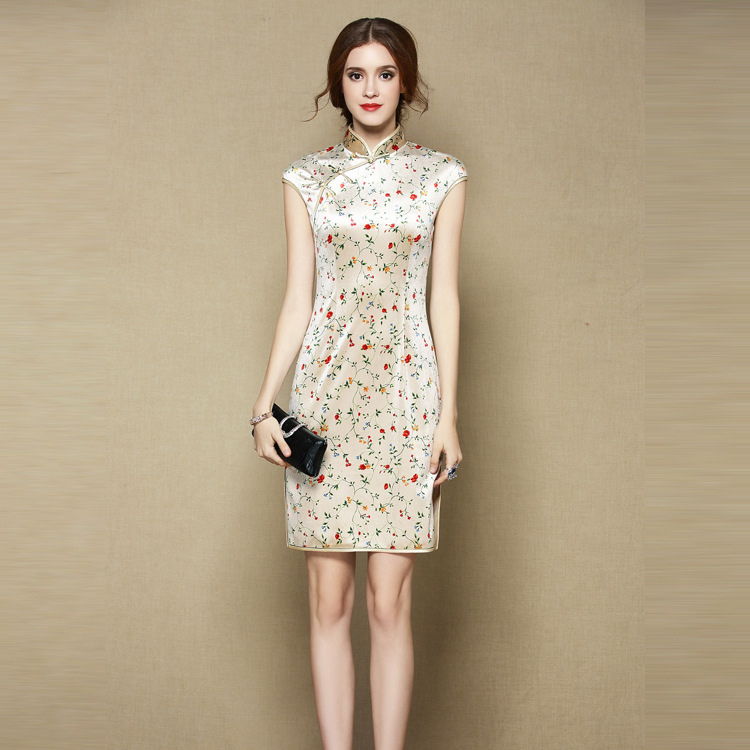 Charming Thin Velvet Cheongsam Qipao Dress - Short