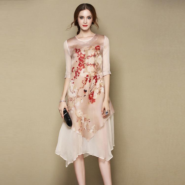 Merry Bird Print Scoop Neck Two Layers Silk Dress