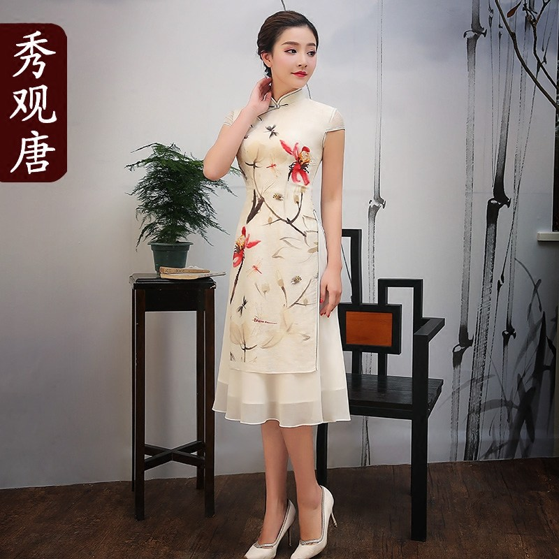 Attractive Dragonflies Two Layers Qipao Cheongsam Dress