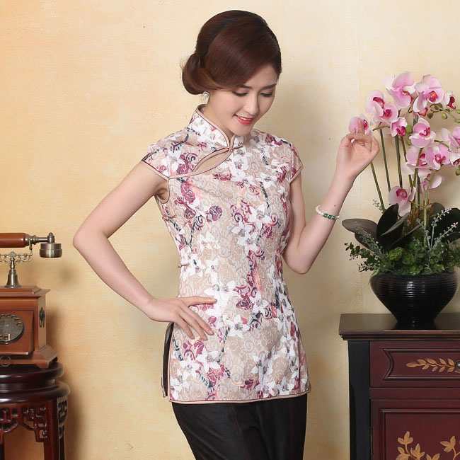 Enchanting Lace Frog Button Qipao Cheongsam Shirt - Pink