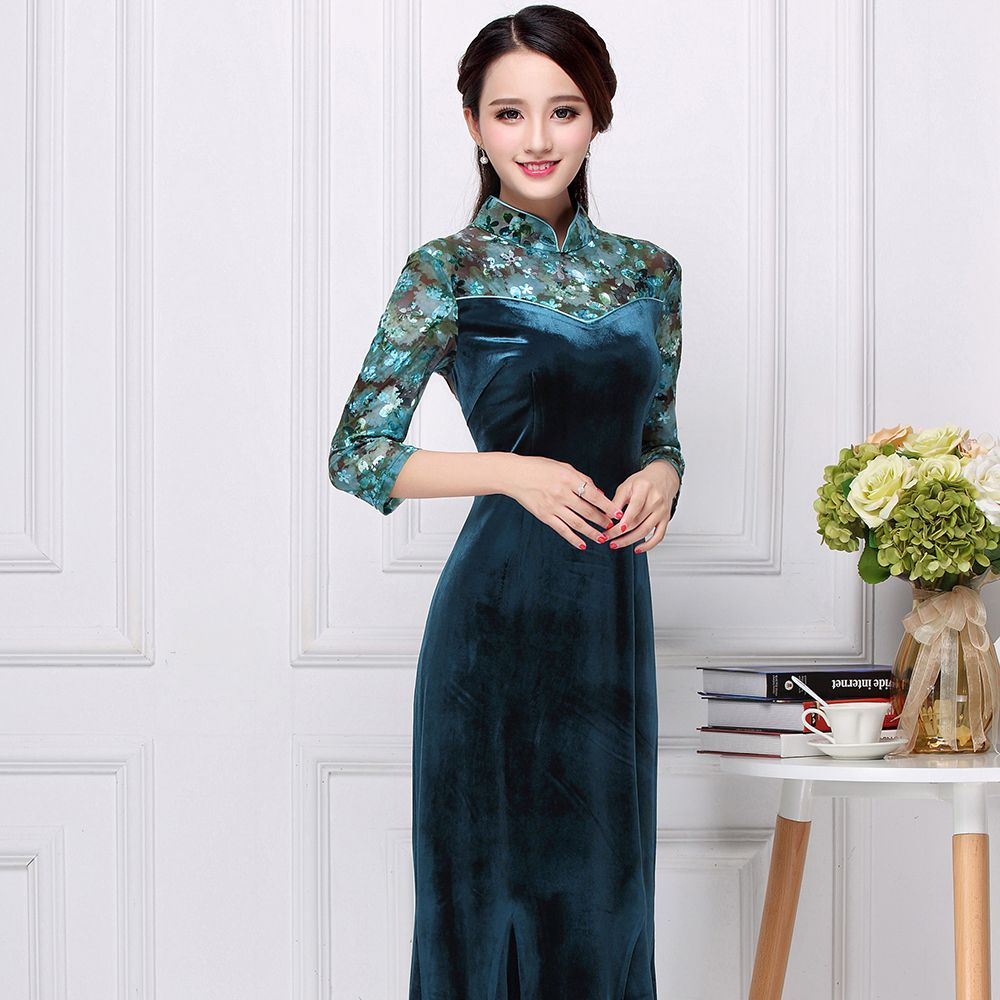 Appealing Velvet Long Cheongsam Qipao Chinese Dress