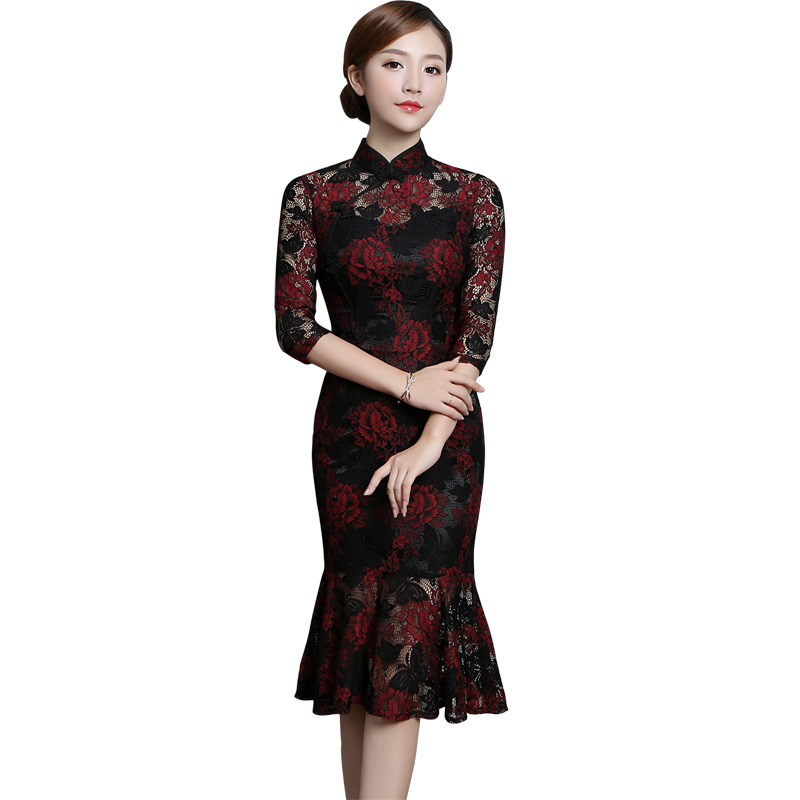 Fabulous Mid-calf Fishtail Qipao Chinese Dress Cheongsam