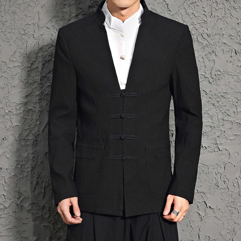 Modern Frog Button Stand-up Collar Black Blazer