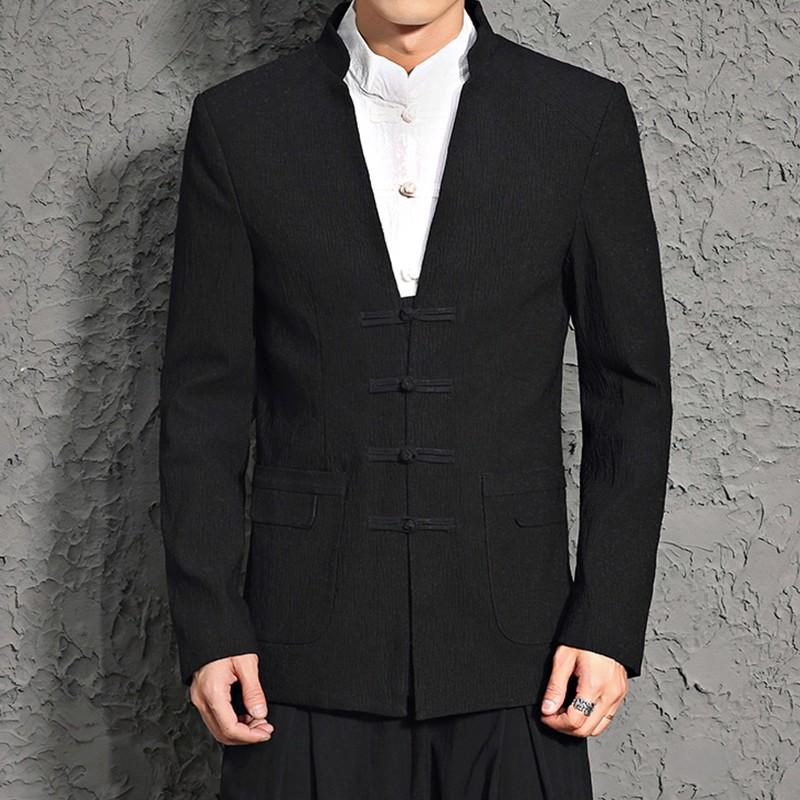 Modern Frog Button Stand-up Collar Black Blazer