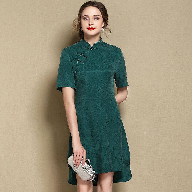 Sweet Modern Short Sleeve Qipao Cheongsam Dress - Green