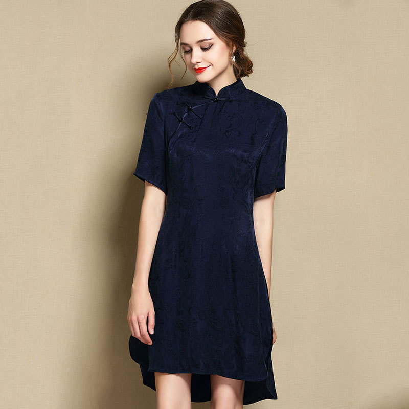 Sweet Modern Short Sleeve Qipao Cheongsam Dress - Navy