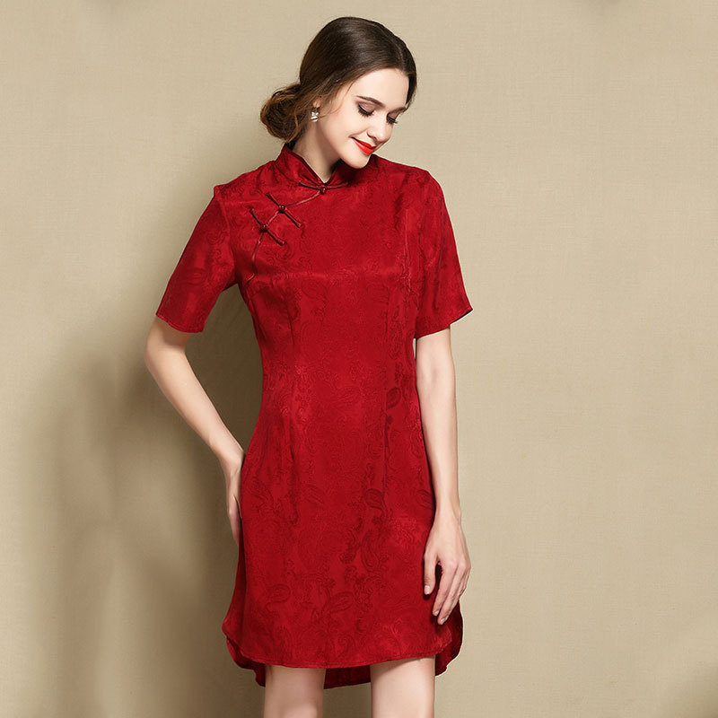 Sweet Modern Short Sleeve Qipao Cheongsam Dress - Claret