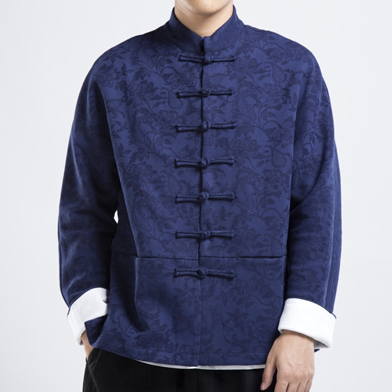 Charming Jacquard Frog Button Tang Jacket - Blue