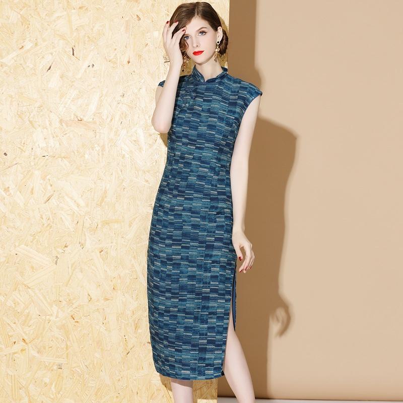 Nice Sleeveless Ramie Qipao Cheongsam Chinese Dress