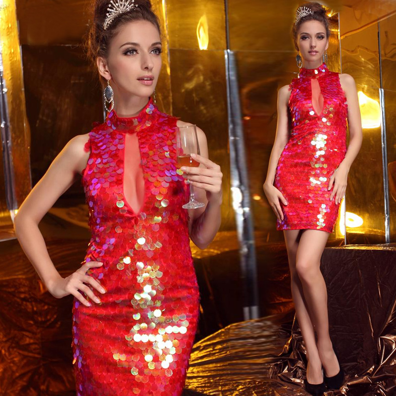 Sexy Modern Red Short Cheongsam Dress With Nail Beads
