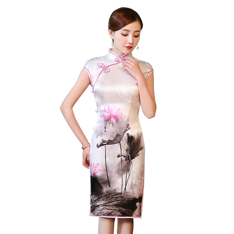 Gorgeous Lotus Flowers Print Qipao Cheongsam Dress