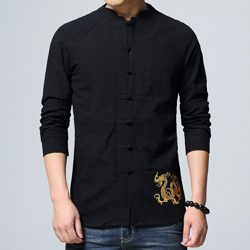 Delightful Golden Dragon Embroidery Chinese Shirt - Black