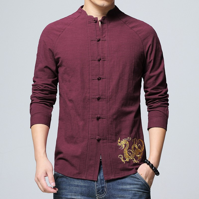 Delightful Golden Dragon Embroidery Chinese Shirt - Claret