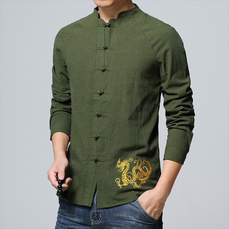 Delightful Golden Dragon Embroidery Chinese Shirt - Green