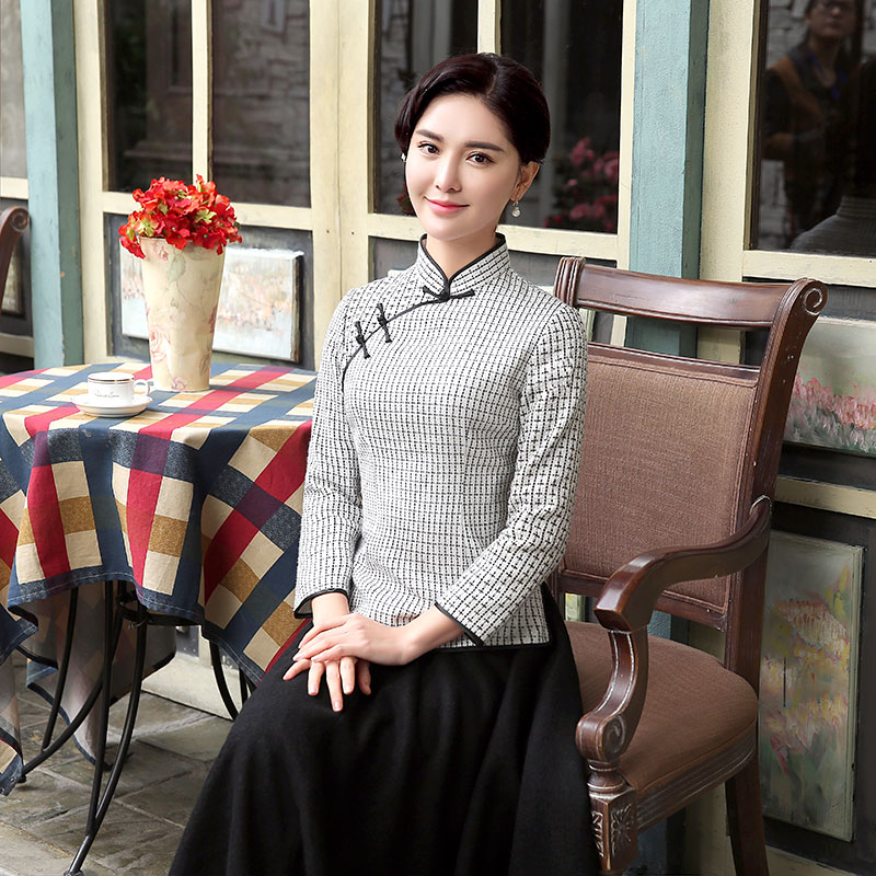Winsome Plaid Wool Blend Qipao Cheongsam Shirt - White