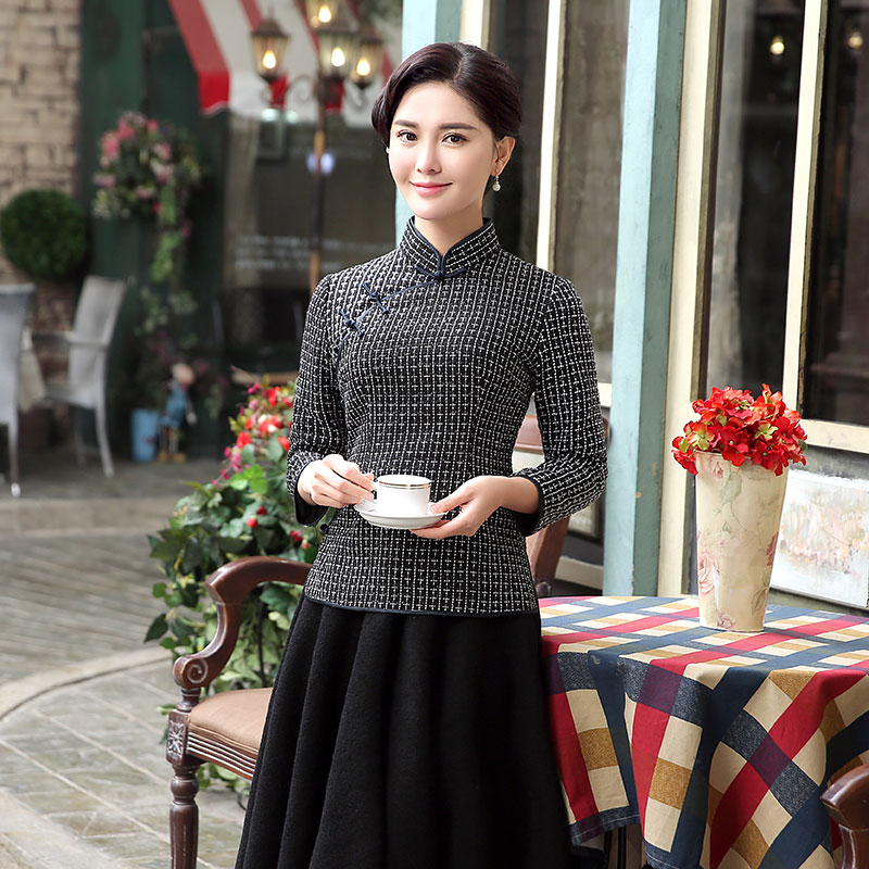 Winsome Plaid Wool Blend Qipao Cheongsam Shirt - Black