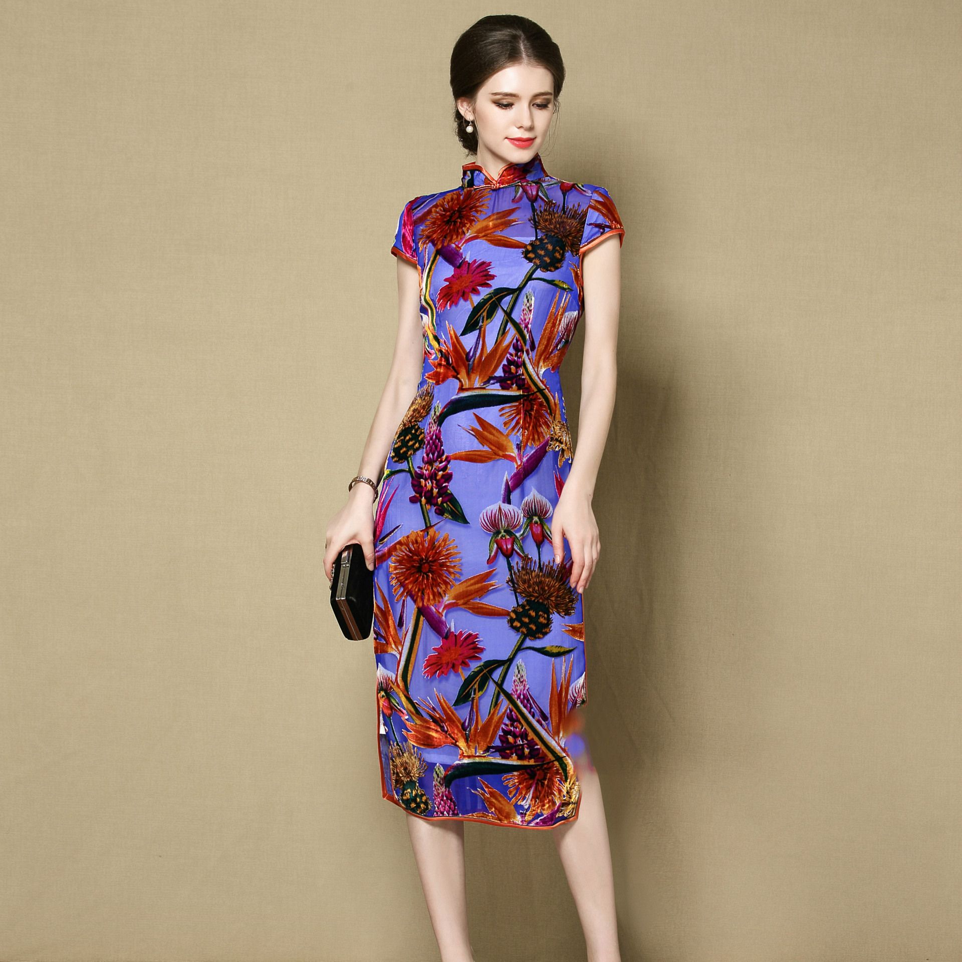 Ravishing Flocked Silk Cheongsam Qipao Dress - Blue